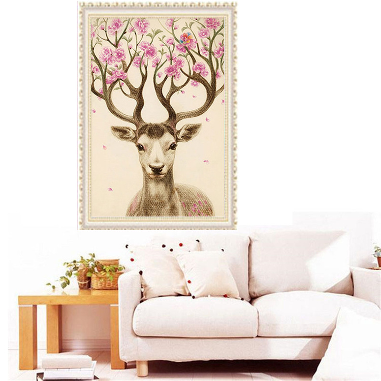 3 D DIY 5 d diamond diamond embroidery, painting, diamond studded animal rich and colorful deer Rhine stone cross stitch, Christ
