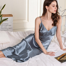 Silk Nightgowns Long Satin Nightgown Sleepwear Sleeping Dress 1024