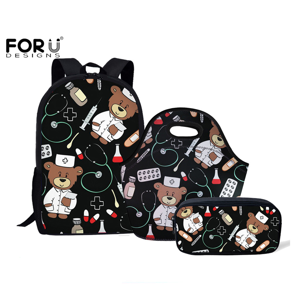 179945f7d3 FORUDESIGNS Cartoon Bear Nurse Pattern Back To School Student Backpacks Set  Children School Bags For Teenage
