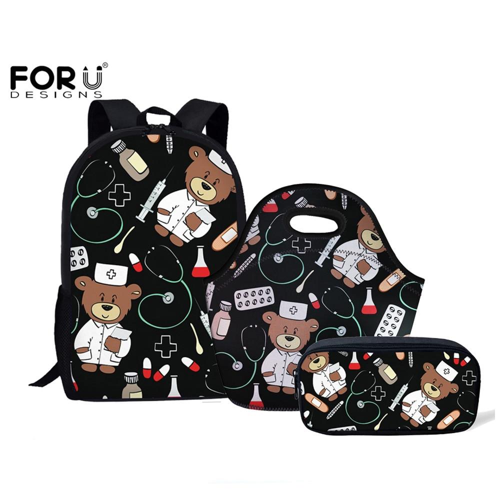 FORUDESIGNS Cartoon Bear Nurse Pattern Back To School Student Backpacks Set Children School Bags For Teenage Girls Schoolbags