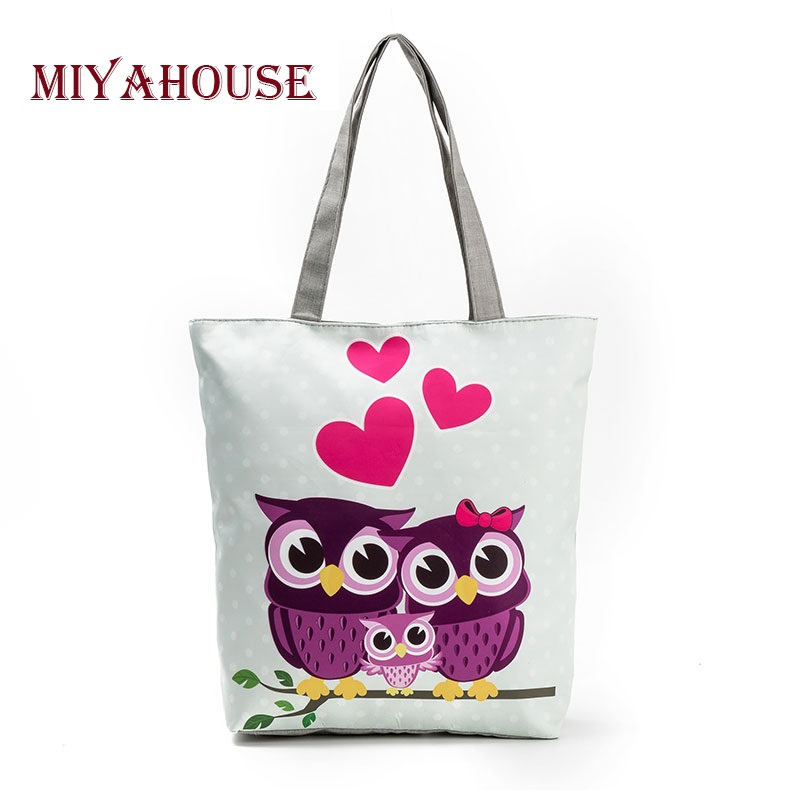 Miyahouse Lovely Owl Printed Women's Casual Tote Large Capacity Canvas Female Sh