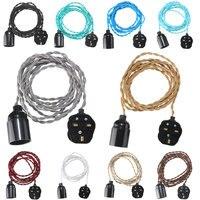 4 Mt E27 Vintage Twisted Fabric Kabel Uk-stecker Anhänger Lampe Glühbirne Halter Buchse