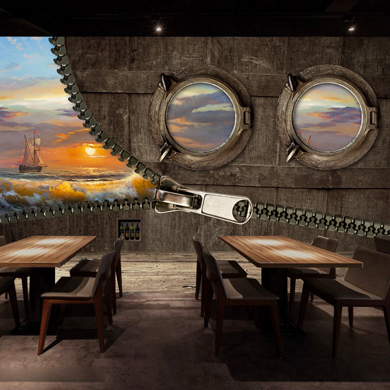 Custom 3d Mural Retro Wooden Painting Style 3D Ship Wallpaper Cafe Lounge Bar Bedroom Living Room