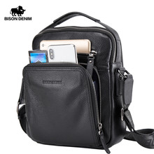 BISON DENIM 2017 Genuine Leather Men Bags Ipad Handbags Male Messenger Bag Man Crossbody Shoulder Bag Men's Travel Bags 2333(China)