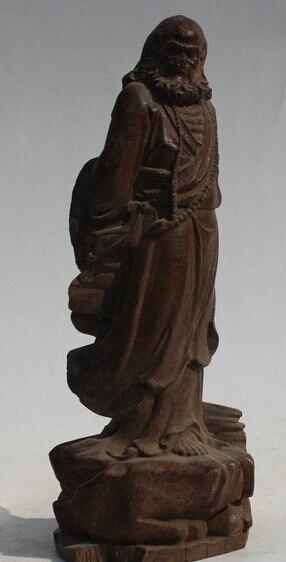 """Ev ve Bahçe'ten Statü ve Heykelleri'de 237 @ g + + 8 """"Eski Çin Budizm Ahşap Standı Arhat Damo Bodhidharma Dharma Buda Heykeli title="""