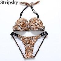 Stripsky Bikinis Women Swimsuit Newest Sexy Leopard Patchwork Bikinis Set Beach Wear Swimwear Maillot De Bain