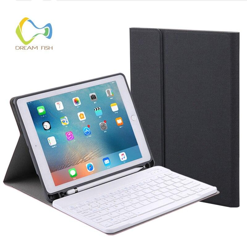 Coque de protection pour iPad 2018 étui détachable Bluetooth clavier avec porte-crayons PU cuir porte-puce pour pochette iPad Gadget