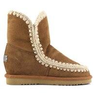 Mou/женские зимние ботинки из овечьей кожи, Коллекция 100% года, теплые ботинки из натуральной кожи на танкетке, Mujer botas, ботинки эскимо с коробко