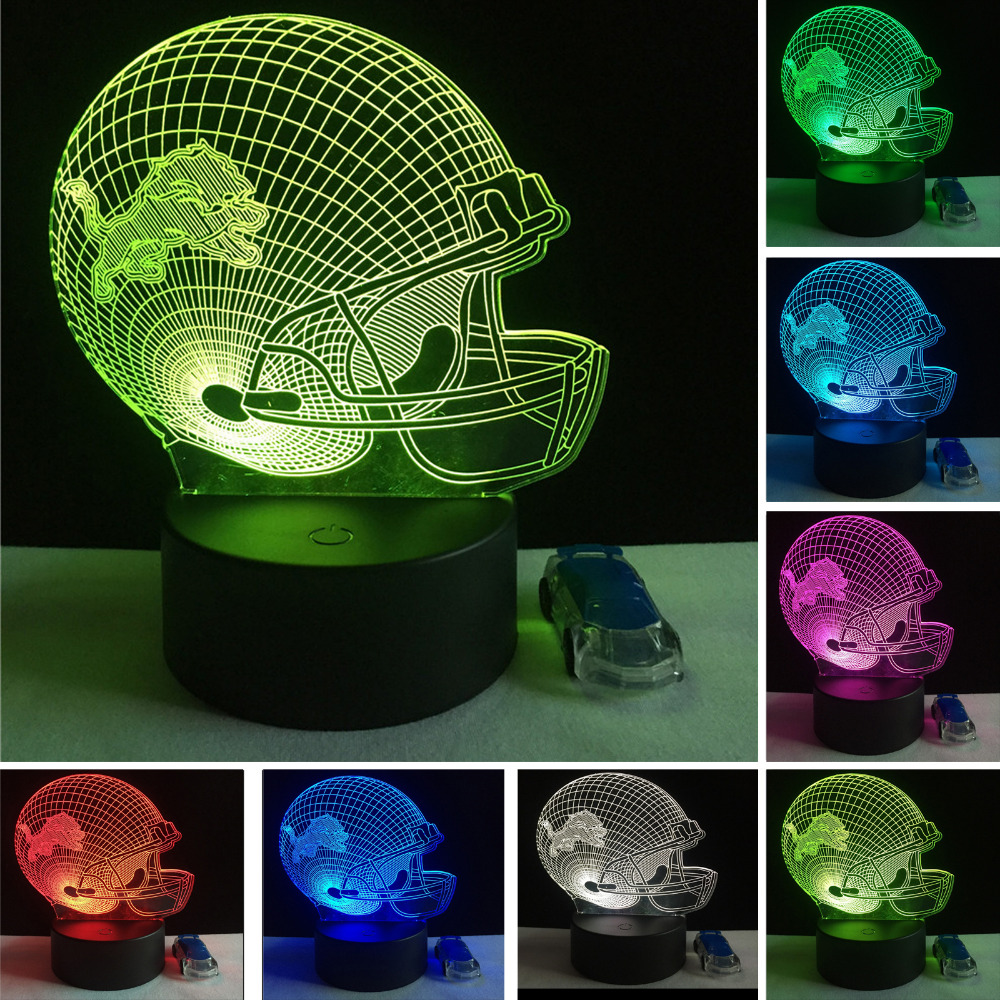 Fantasy 3D Football Sports Team Cap Lion Helmet LED Night light 7 Color Gradient Table Desk Lamp Decor Birthday Sports Fan Gifts