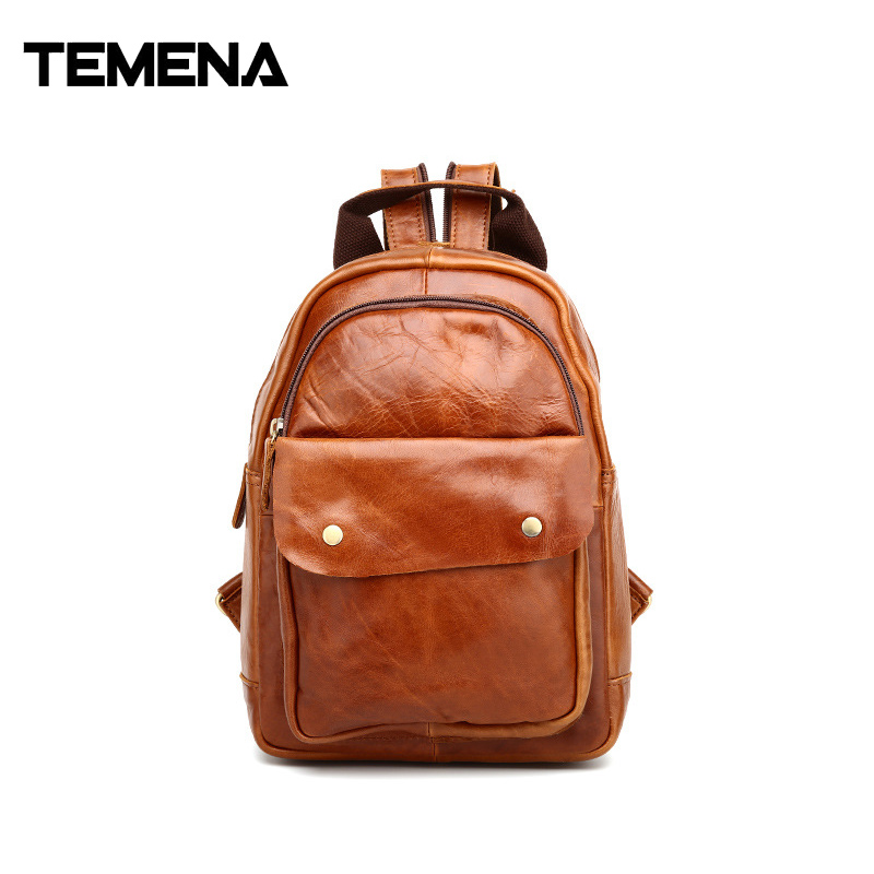 Temena Crazy Horse Cowhide Men Backpack Genuine Leather Vintage Daypack Travel Casual Unisex School Book Bags Rucksack ABP380 new arrival 2016 classic vintage men backpack crazy horse genuine leather men bag travel cowhide backpacks school bags li 1320