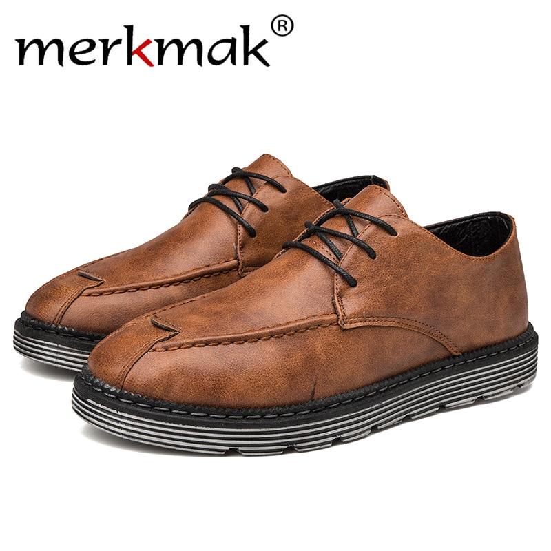 Merkmak Marka erkek deri ayakkabı Boyutu 39-44 Yeni Martens Rahat Deri  Çizmeler erkek Askeri 78f0a33d906