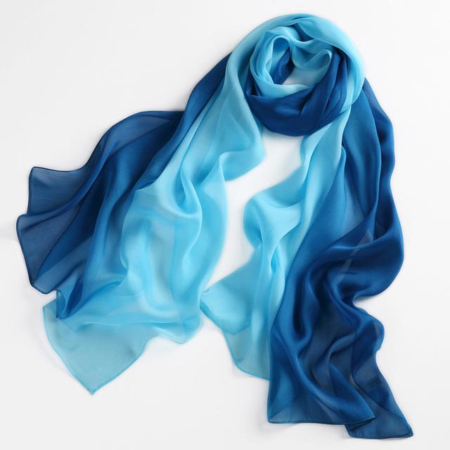 Mulheres 100% Natural Silk Scarf Shawl Feminino Seda Pura Cachecóis Wraps modelos Finos Plus Size Xales Long Beach Cover-ups 180*68 cm