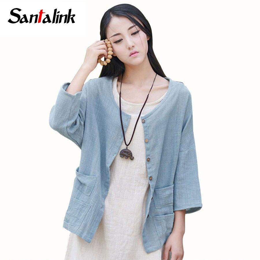 Santalink Women Linen Blouse Shirt Summer Style 3 4 Sleeve