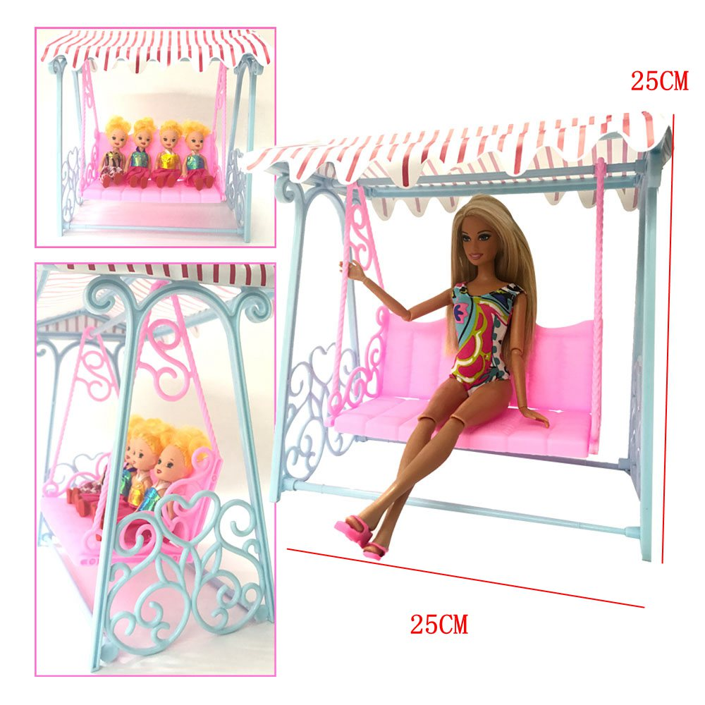 NK One Set Doll Accessories Princess Cute Garden Swing For barbie Doll furniture Kurhn Doll play house toys for children free shipping new arrival christmas birthday gift children play set cute dinning room doll accessories furniture for barbie doll