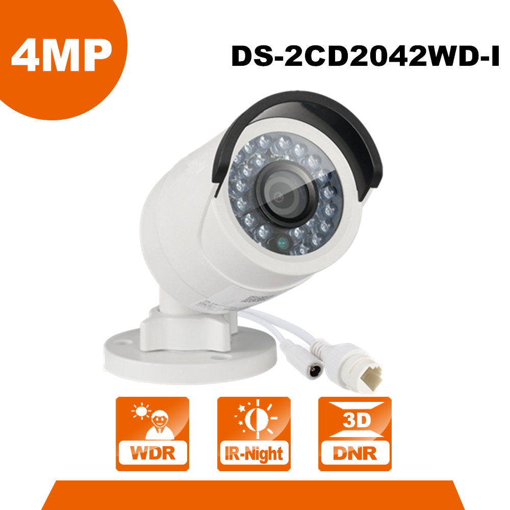 Original Hik DS-2CD2042WD-I Full HD 4MP 1080P IR Bullet Network IP Camera 4mm Night Vision Security CCTV Camera POE Home ONVIF