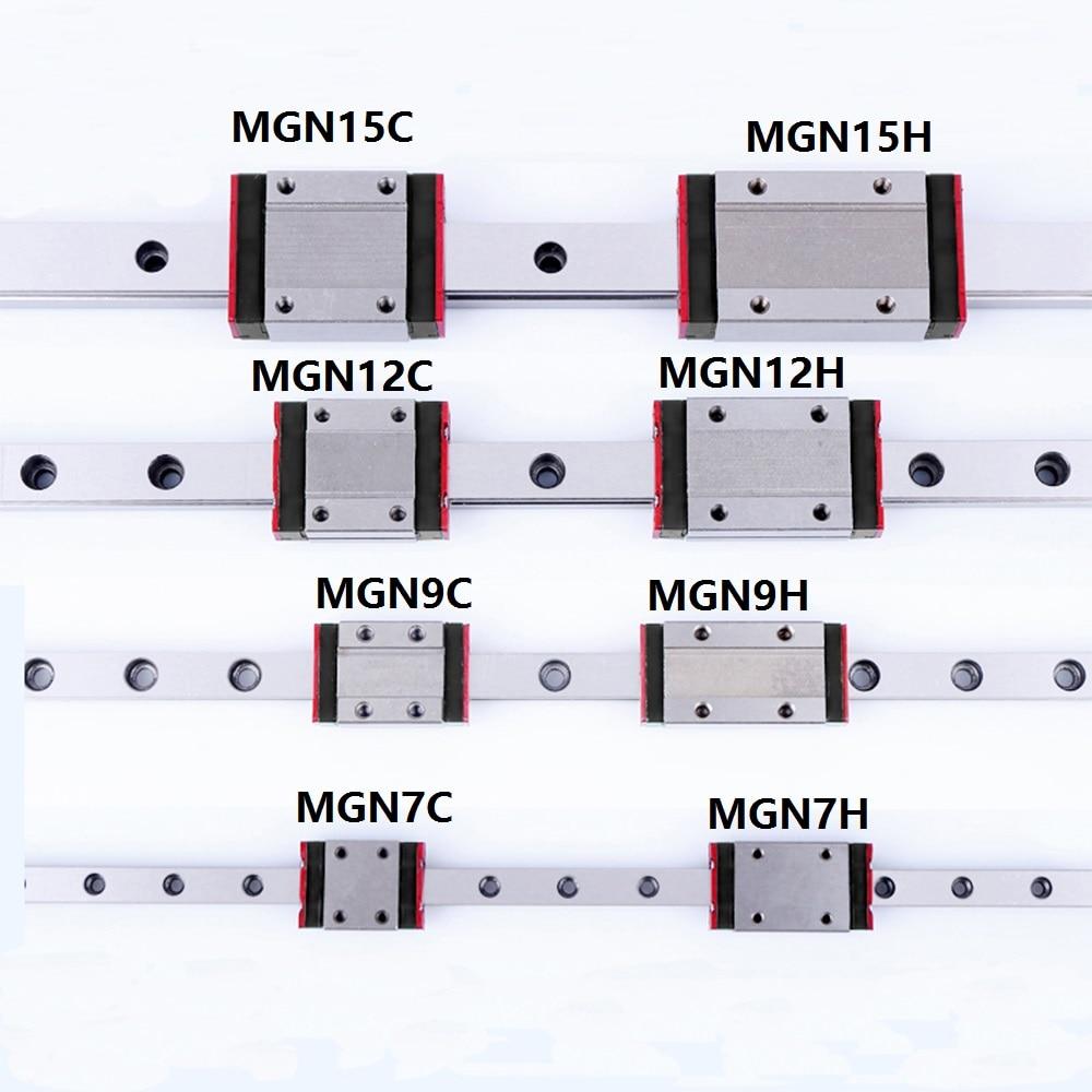 1 pçs guia de trilho linear mini mgn7 mgn9 mgn12 mgn15 bloco mr7 mr9 mr12 mr15 + 1 peça de impressora tipo longo ou padrão de transporte 3d