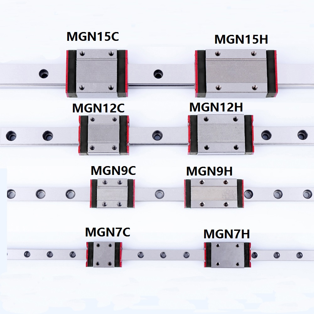 1 pcs Bloco Linear trilho de guia Linear Mini MGN7 MGN9 MGN12 MGN15 MR7 MR9 MR12 MR15 + 1 pcs MGN H ou MGN C peça da impressora Transporte 3d