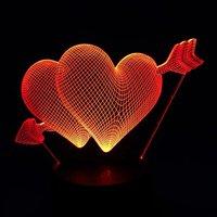 Beautiful RGB Love Heart Shape 3D Cupid S Arrow Night Light Bedroom Lamp For Couples Lovers