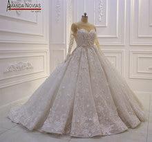 놀라운 새로운 모델 2019 긴 소매 레이스 웨딩 드레스 amanda novias
