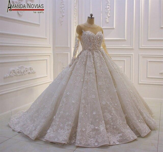 مذهلة نموذج جديد 2019 طويلة الأكمام الدانتيل فساتين الزفاف أماندا Novias
