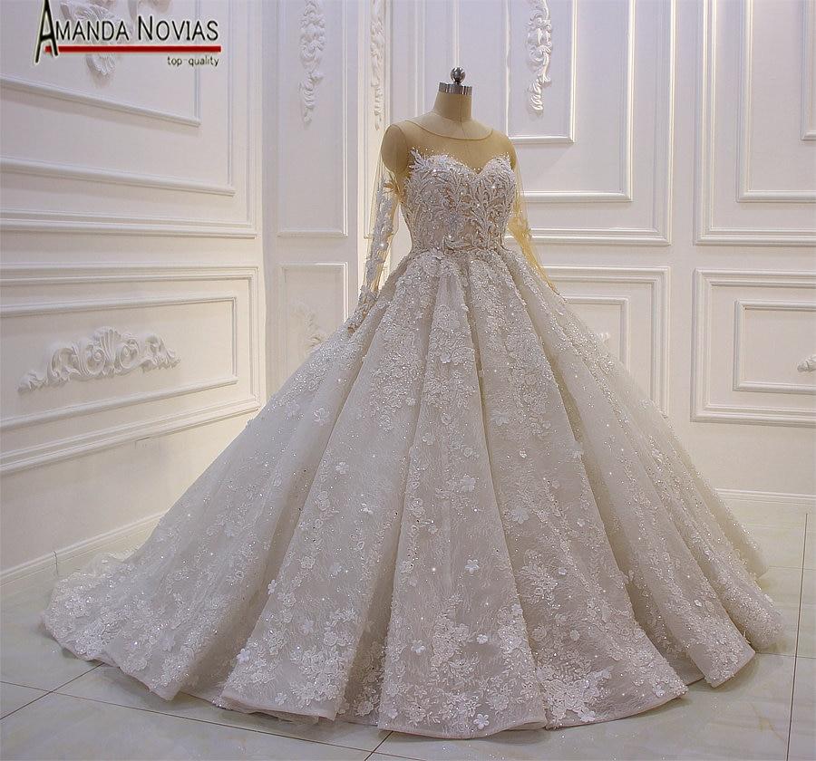 Amazing New Model 2019 Long Sleeve Lace Wedding Dresses Amanda NoviasWedding Dresses   -