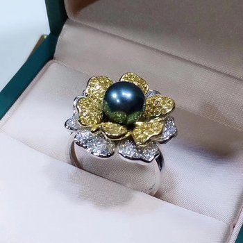 Gorgeous Flower 925 Silver Finger Ring Mount Set Adjustable Findings Component Jewelry Parts Fittings Accessories for Stone
