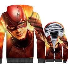 New Fashion 2018 The Flash Winter Zipper Hoodies Men Hip Hop Sweatshirt Harajuku Mens Jacket Superhero Cosplay Thick Fleece Top