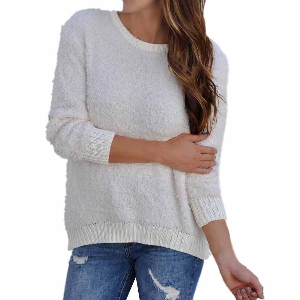 Fall Womens Solid White Knitted Sweatshirt Simple Design Ladies O-Neck Elegant Long Sleeve Loose Casual Pullover Jumper Tops #L