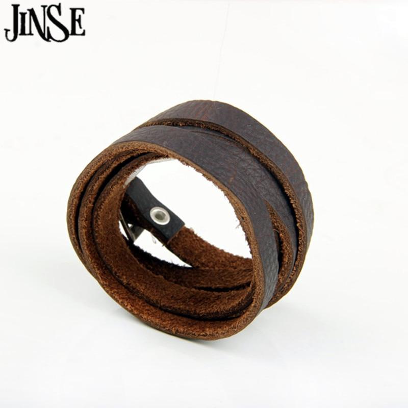 cd1eea3c924 JINSE Européenne style 121 cm   1 cm 100% Brun Véritable En Cuir Longue  Ceinture Bracelets Main Tresse ficelle Bracelet Pour femmes PSL269