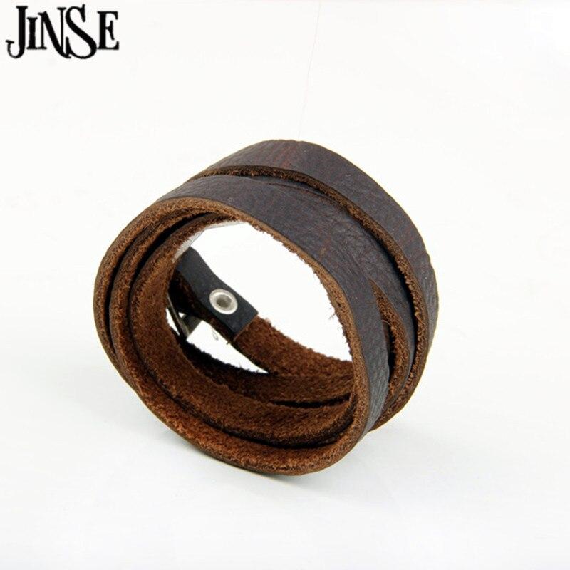 JINSE European style 121cm*1cm 100% Brown Genuine Leather Long Belt Bracelets Hand Braid twine Bracelet For Women PSL269