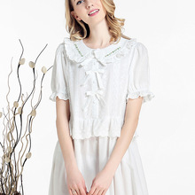 New Arrival Spring Women French Style Royal Princess Nightgowns Lady Sweet White Lace Cotton nightdress sleep wear Lounge 17032