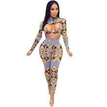 цены Autumn 3 Piece Set Women Set Clothes Long Sleeve Printed Crop Top + Bra + Pants Sexy Three Piece Set Night Club Party Outfits