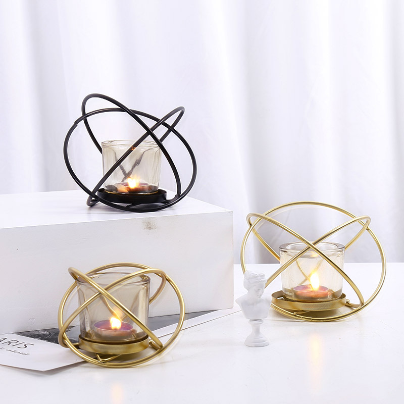 Us 13 98 Nordic Ins Metal Light Luxury Candle Holder Cafe Restaurant Dining Table Candlelight Decoration Earth Candlestick In