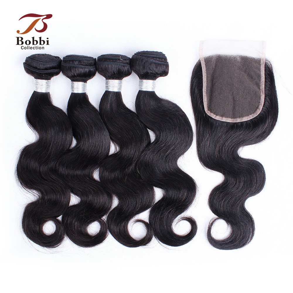 BOBBI COLLECTION Brazilian Body Wave Bundles With Closure 3/4 Bundles Human Hair with Closure Remy Hair Extensions