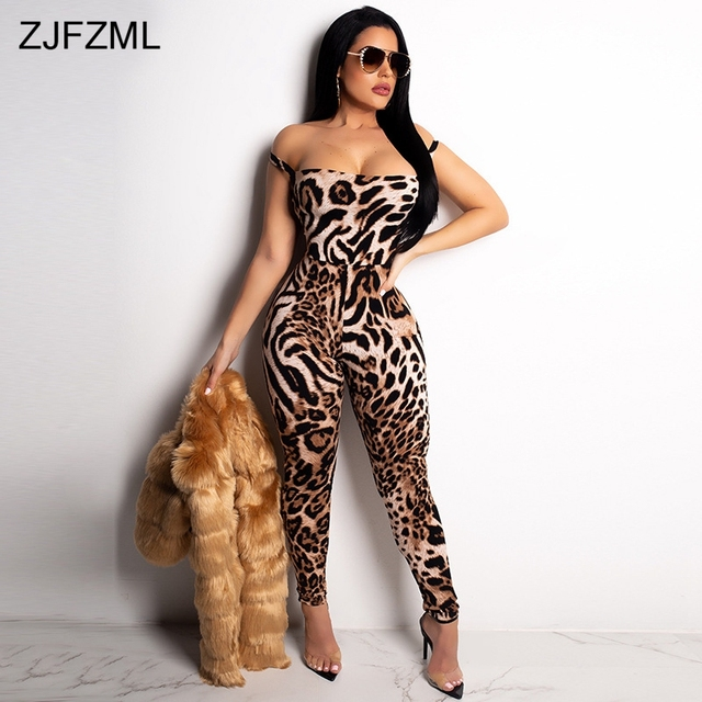 b906ae34355 Leopard Print Sexy Rompers Women Jumpsuit Slash Neck Off Shoulder One Piece  Overall Vintage Backless Cross