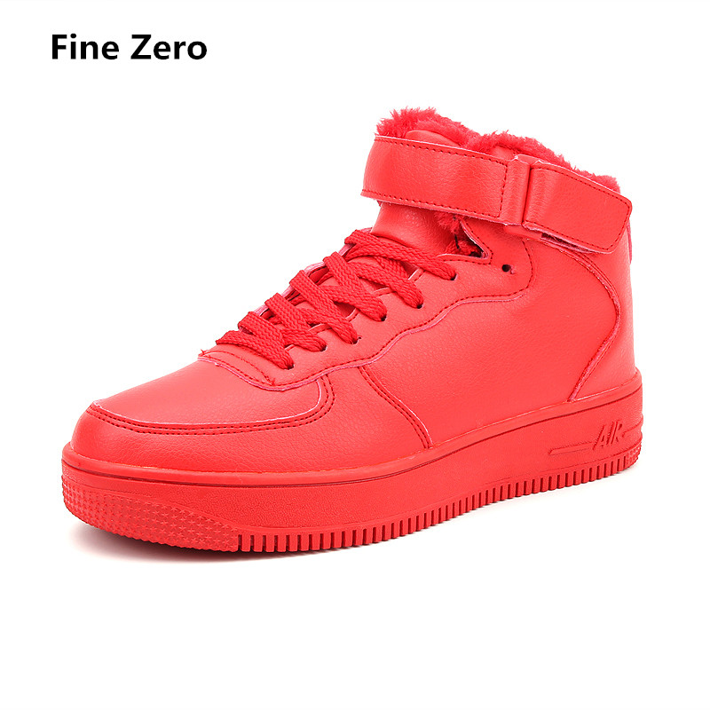 Fine Zero man lace up winter warm plush high top sneakers Men