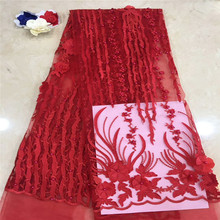 African Lace Fabric High Quality 3DFlower Beautiful Applique Beaded For Nigerian Wedding Dress xc-2215