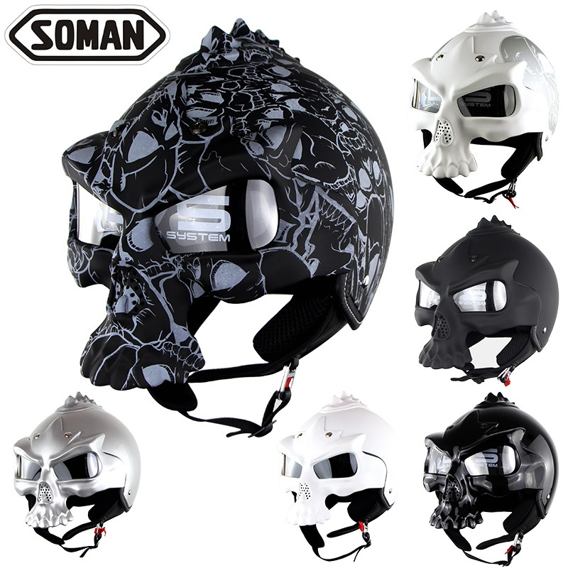 Soman Skull Motorcycle helmet Double Lens Harley Harl half face helmet Motorbike Capacetes Casco Retro Casque SM689 protective outdoor war game military skull half face shield mask black