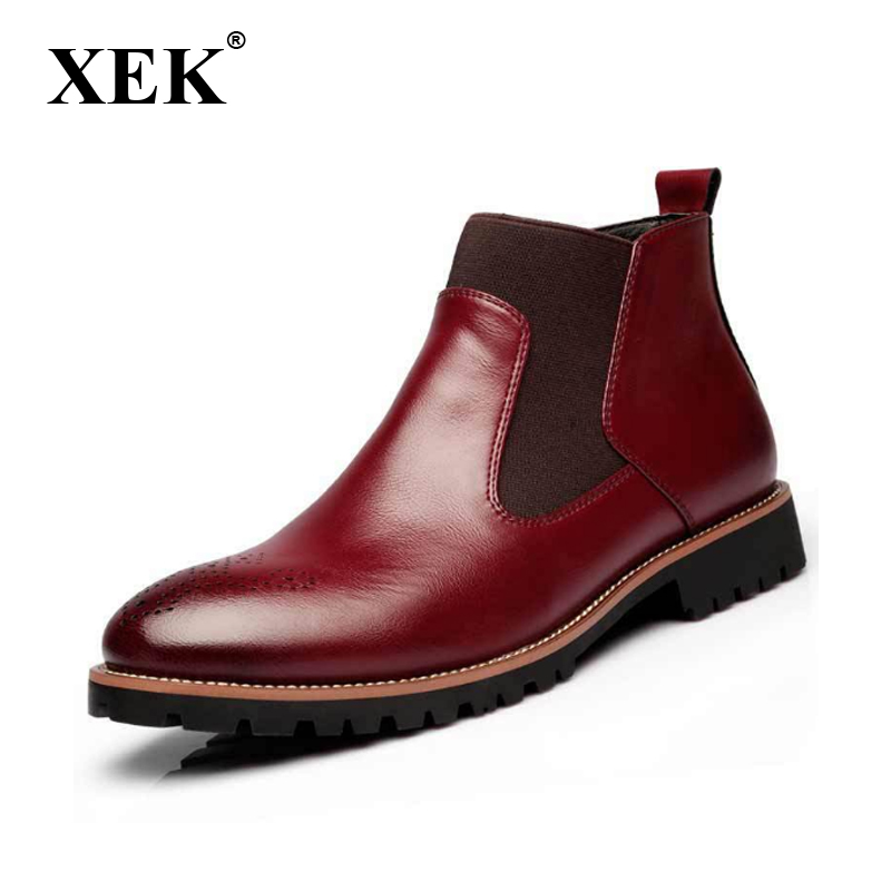 XEK Winter Fur Men's Chelsea Boots British Style Fashion Ankle Boots Soft Leather Casual Shoes GSS73 zunyu new autumn winter men s chelsea boots luxury british style fashion ankle boots black brown blue soft leather casual shoes