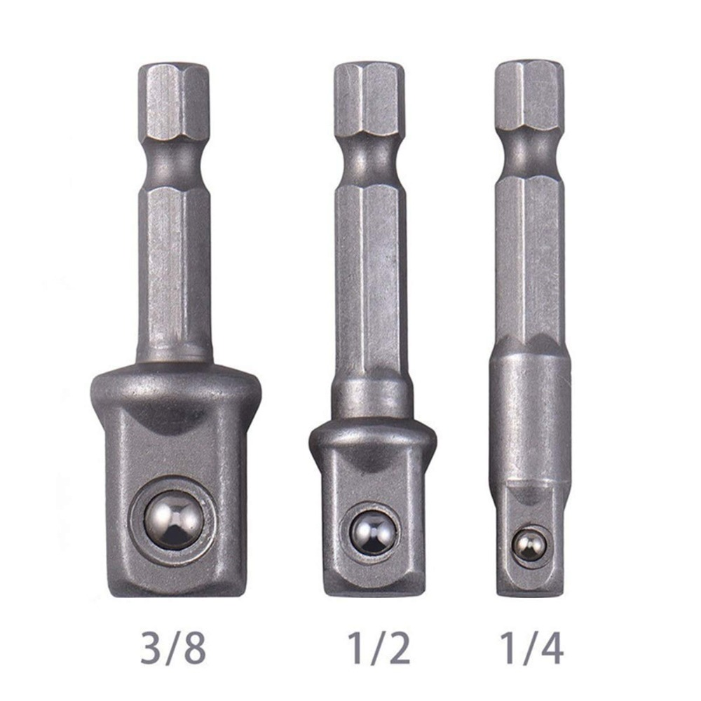 Steel Socket Adapter Hex Shank to 1/4 3/8 1/2 Extension Drill Bits Bar Hex Bit Set Power Tools For Screwdriver  3pcs/set     Steel Socket Adapter Hex Shank to 1/4 3/8 1/2 Extension Drill Bits Bar Hex Bit Set Power Tools For Screwdriver  3pcs/set