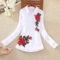 2017 New Summer Cotton Embroidered Shirt Large Size Women Cotton Shirt Long Sleeve Loose Blouse