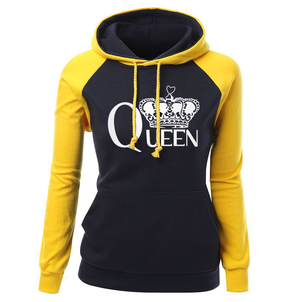 Women's Sportswear 2018 Autumn Winter Raglan Hoody For Female Brand Clothing Streetwear Print QUEEN CROWN Fashion Sweatshirt Hot