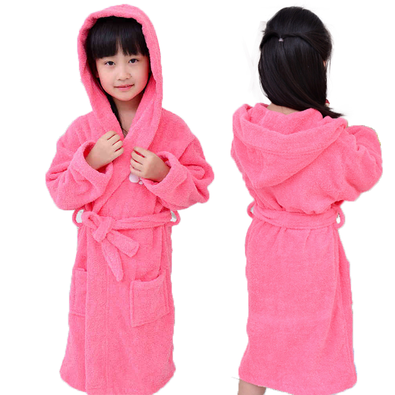 Cotton Girls Children's Bathrobes Kids boys hooded Winter Spring robe towel fleece Pajamas Cartoon Kids Clothing Sleepwear