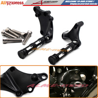 Motorcycle CNC Black Foot Rest Rear Passenger Foot Pegs Mounting Bracket Kit For Harley 2014 2016