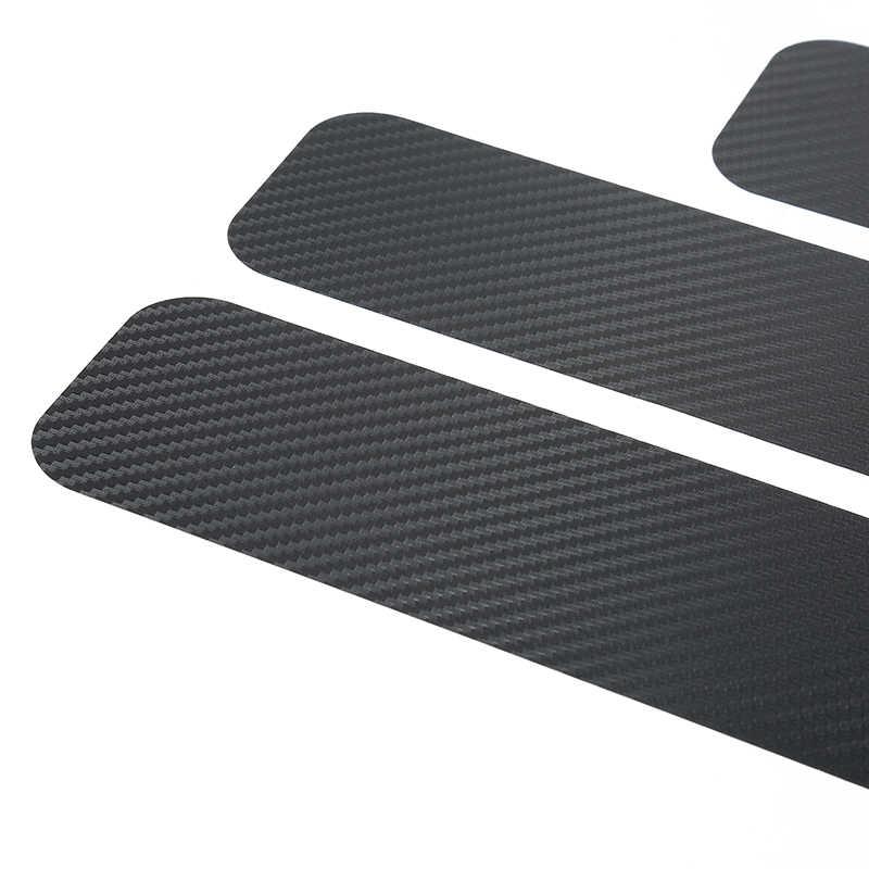 4 piezas pegatina de coche Protector de alféizar para coche diseño de fibra de carbono Placa de puerta de protección de rasguño para Auto accesorios de puerta