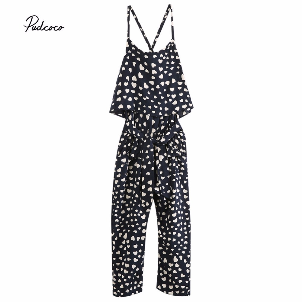 Pudcoco Girl Romper 2017 Summer Kids Baby Girls Clothes Sleeveless Polka Dot Dress Jumpsuit Trousers Outfits