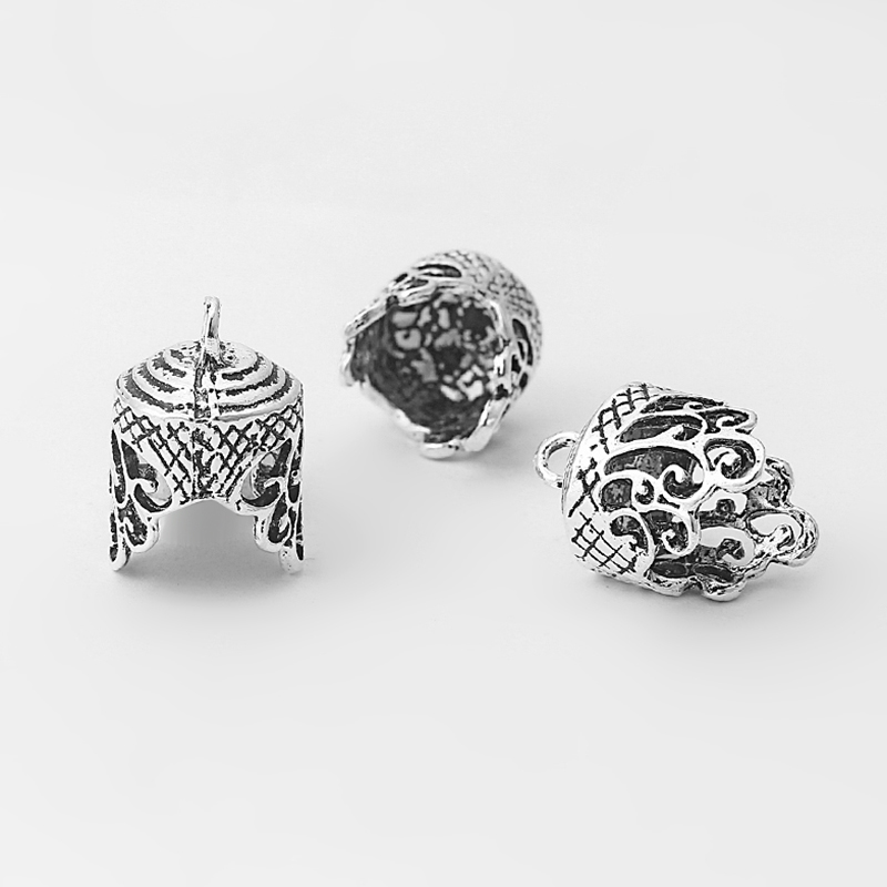 10pcs Antique Silver Lacework Craft Embossed Grain End Beads Cap Cord Stopper Tassel Crimp Cap Charms Jewelry Making Findings