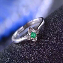 green emerald Ring Natural gemstone forefinger 925 sterling silver trendy Elegant Three round women party Jewelry