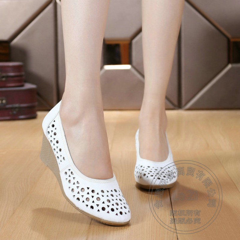 High Heels Heel Slip On Cut Out Cutout Sandals Black White Breathable Pumps Work font b