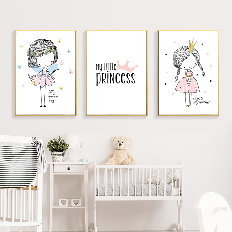 Nordic Poster Kids Room Girls Wall Prints Princess Canvas Painting Art Cartoon Pictures for Rooms